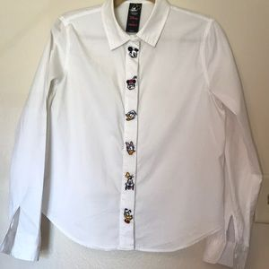Disney forever 21 colab white button down shirt